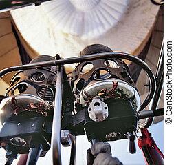 The hot air burner on a hot air balloon