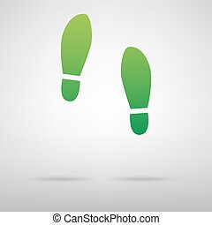 Imprint soles shoes green icon with shadow Vector...