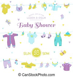 Baby Shower or Arrival Card - Cute Baby Boy Elements - in vector