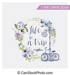 Floral Shabby Chic Graphic Design - for t-shirt, fashion,...