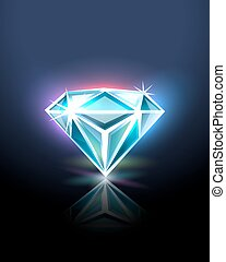 Diamond on black, vector illustration for Your design, eps10