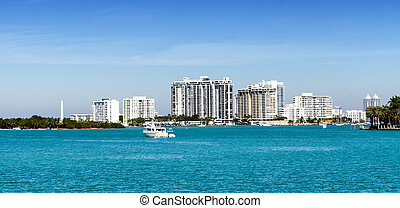 Downtown Miami skyline from the sea