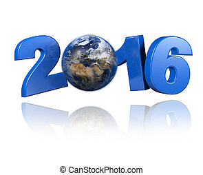 Europe centered Earth view 2016 design with a white...