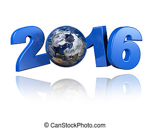 Arctic centered Earth view 2016 design with a white...
