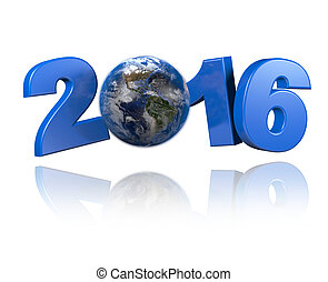 Americas centered Earth view 2016 design with a white...