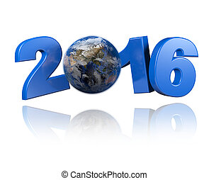 Asia centered Earth view 2016 design with a white background