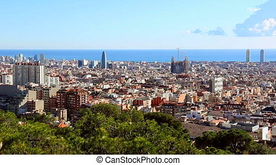 Zoom in on city Barcelona and Sagra - Zoom in on city...