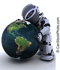 cute robot cyborg - 3D render of a robot embracing earth
