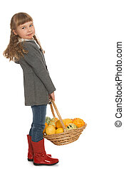 Little girl with basket - Beautiful little girl with blond...