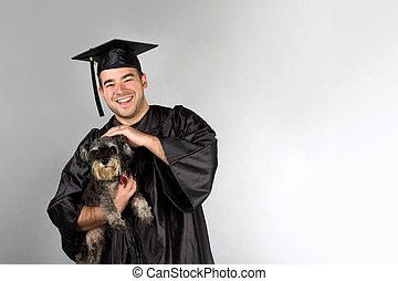 Graduate Holding Dog - A recent college or high school...