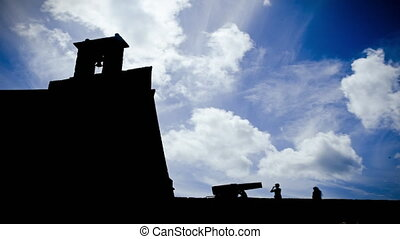 Time Lapse of San Miguel Castle in silhouette, Arrecife,...