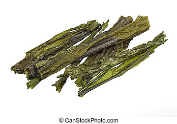 dried sea kelp - dried west-coast sea kelp isolated on white...