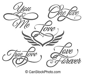 Love Lettering in Tattoo style - Set of Love Lettering in...