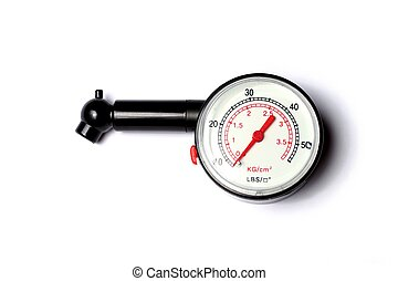 Pressure gauge - Plastic tyre-pressure gauge on white...