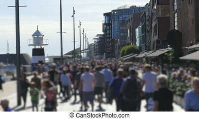 """""""pedestrian people walking on oslo old city downtown streets, norway"""""""