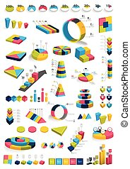 Collections of infographics 3D design diagrams. Various color templates, charts, schemes, boxes, pie graphs, bubbles for print or web design. Vector illustration.