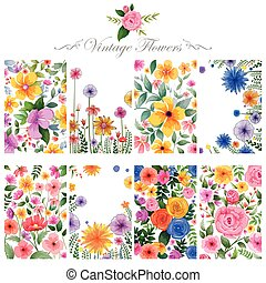 Watercolor floral background for designing purpose
