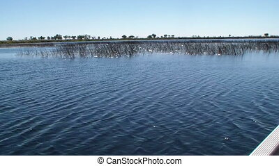 Boat Okavango Delta crossing lake - Boat crossing lake of...