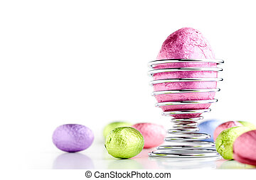 Easter eggs - Colorful easter eggs isolated on white...