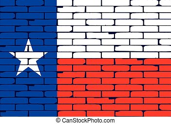Texan Painted Wall Flag - The Texan flag painted on a brick...