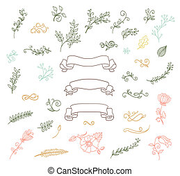 wreaths, flowers, ribbons, calligraphic swirls color doodle...