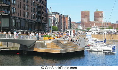 """oslo marina and old city view, norway"""