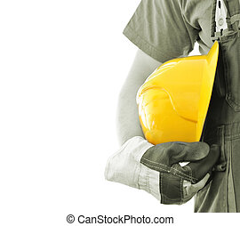 Worker with helmet isolated on white
