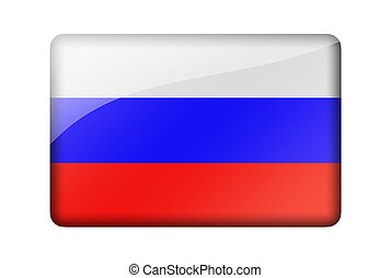 The Russian flag. Rectangular glossy icon. Isolated on white...