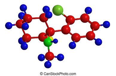 moléculaire, structure, de, ketamine,
