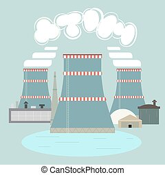 Nuclear power plant with abstract text Nuclear power plant...