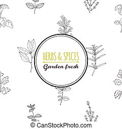 Round label template on seamless pattern with spicy herbs -...
