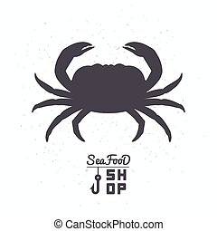 Crab silhouette. Seafood shop branding template