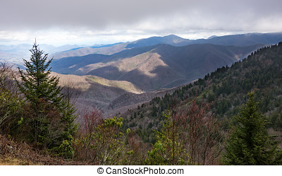 Smoky Mountains - Scenic view from the Blue Ridge Parkway of...