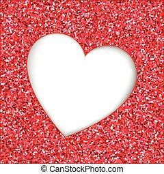 Red glitter heart cutout