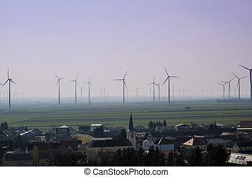 windmills - several windmills on the horizon