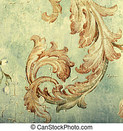 Detail of vintage shabby chic wallpaper with floral...