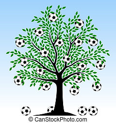 Football tree - Editable vector illustration of a tree with...