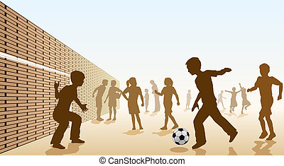 Schoolyard football - Editable vector illustration of...