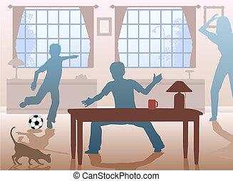 Table football - Editable vector illustration of boys...