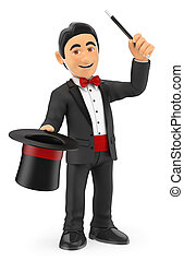 3D Magician with hat and wand