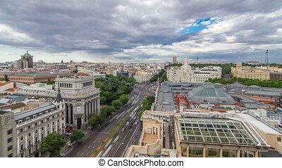 Madrid timelapse, Beautiful Panorama Aerial View of Madrid...