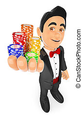 3D Tuxedo man with casino chips. Bet concept