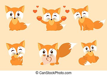 Set of cute foxes. Vector cartoon fox photo. Sitting with...