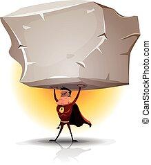 Superhero Holding Heavy Big Boulder
