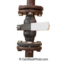 Rusted valve  - metal pipe with valve on a white background
