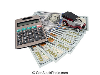 Money for car, antique toy car and money on white background
