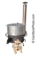 A new cast iron wood stove burning hot