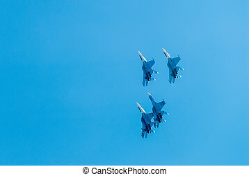 Group flight of russian pilotage team on SU-27 - Nizhniy...
