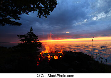 Great Lakes Sunset Beach Fire - The beach of Lake Superior...