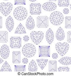 Seamless pattern made of line art diamonds